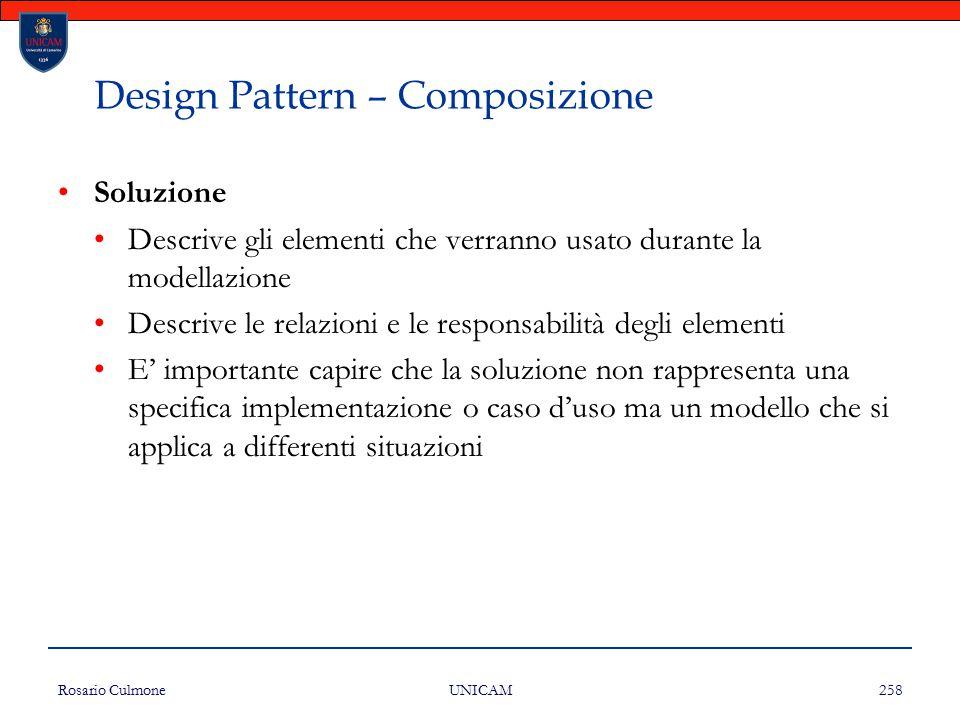 Rosario Culmone UNICAM 258 Design Pattern – Composizione Soluzione Descrive gli elementi che verranno usato durante la modellazione Descrive le relazi