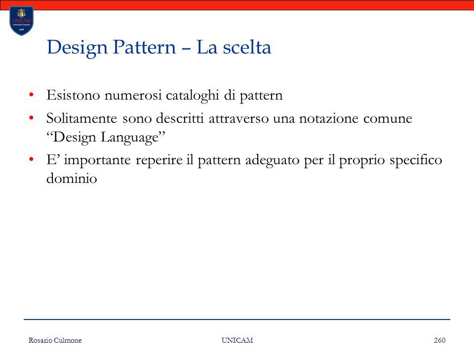Rosario Culmone UNICAM 260 Design Pattern – La scelta Esistono numerosi cataloghi di pattern Solitamente sono descritti attraverso una notazione comun