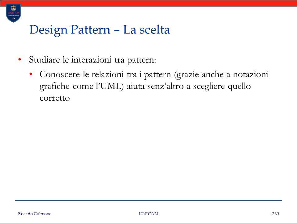 Rosario Culmone UNICAM 263 Design Pattern – La scelta Studiare le interazioni tra pattern: Conoscere le relazioni tra i pattern (grazie anche a notazi