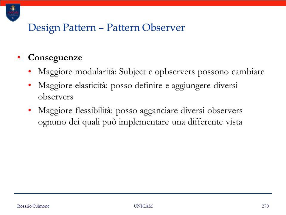 Rosario Culmone UNICAM 270 Design Pattern – Pattern Observer Conseguenze Maggiore modularità: Subject e opbservers possono cambiare Maggiore elasticit