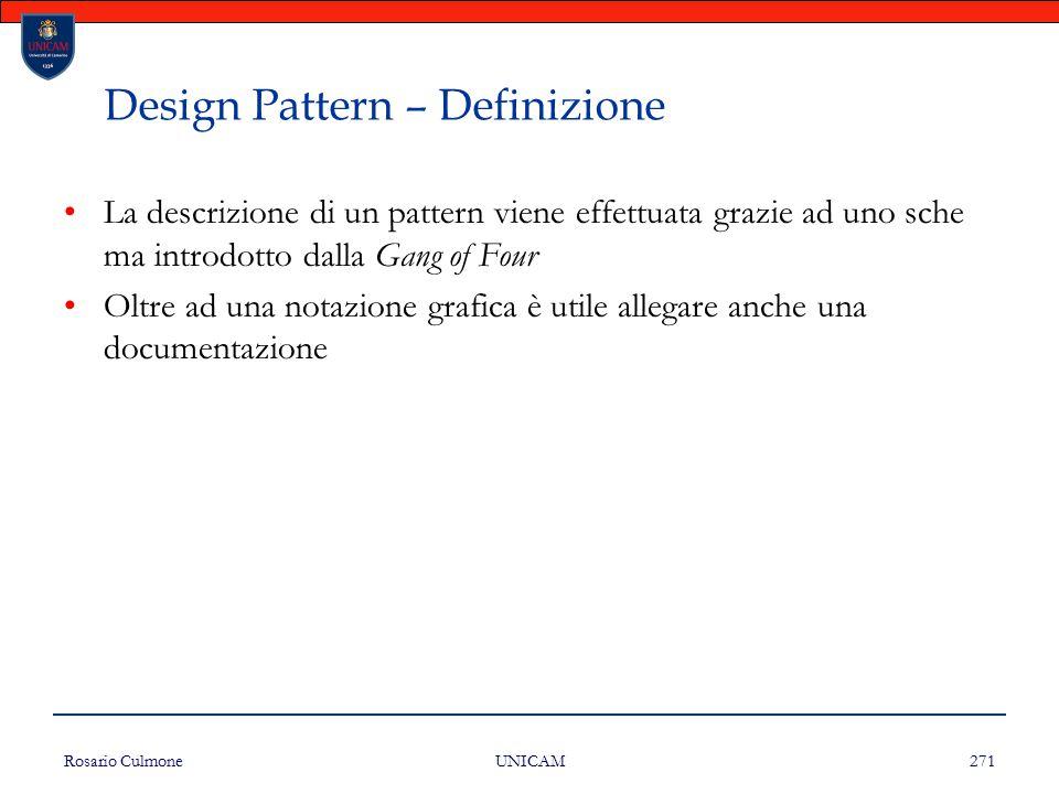 Rosario Culmone UNICAM 271 Design Pattern – Definizione La descrizione di un pattern viene effettuata grazie ad uno sche ma introdotto dalla Gang of F