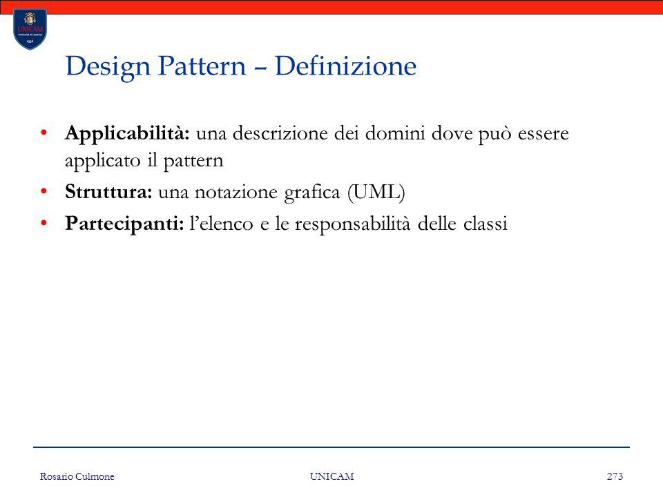 Rosario Culmone UNICAM 273 Design Pattern – Definizione Applicabilità: una descrizione dei domini dove può essere applicato il pattern Struttura: una