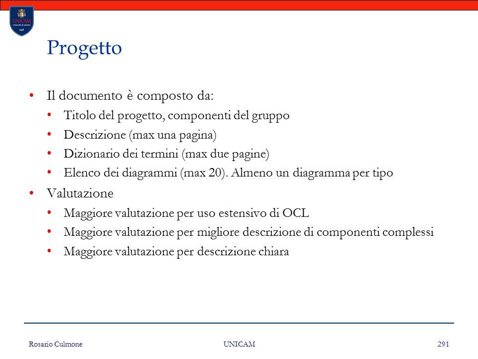Rosario Culmone UNICAM 291 Progetto Il documento è composto da: Titolo del progetto, componenti del gruppo Descrizione (max una pagina) Dizionario dei
