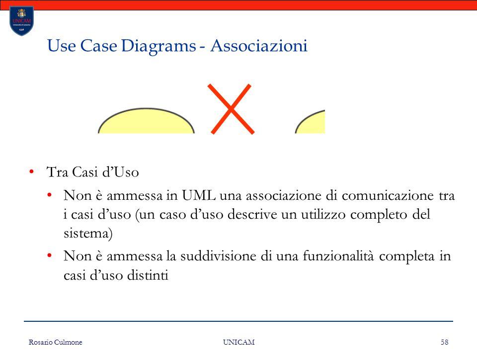 Rosario Culmone UNICAM 58 Use Case Diagrams - Associazioni Tra Casi d'Uso Non è ammessa in UML una associazione di comunicazione tra i casi d'uso (un