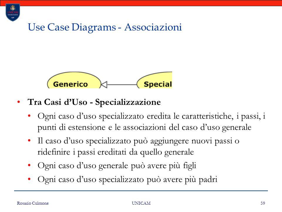 Rosario Culmone UNICAM 59 Use Case Diagrams - Associazioni Tra Casi d'Uso - Specializzazione Ogni caso d'uso specializzato eredita le caratteristiche,