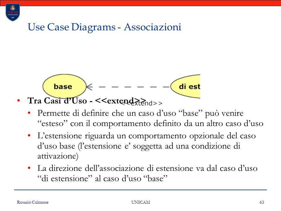 """Rosario Culmone UNICAM 63 Use Case Diagrams - Associazioni Tra Casi d'Uso - > Permette di definire che un caso d'uso """"base"""" può venire """"esteso"""" con il"""
