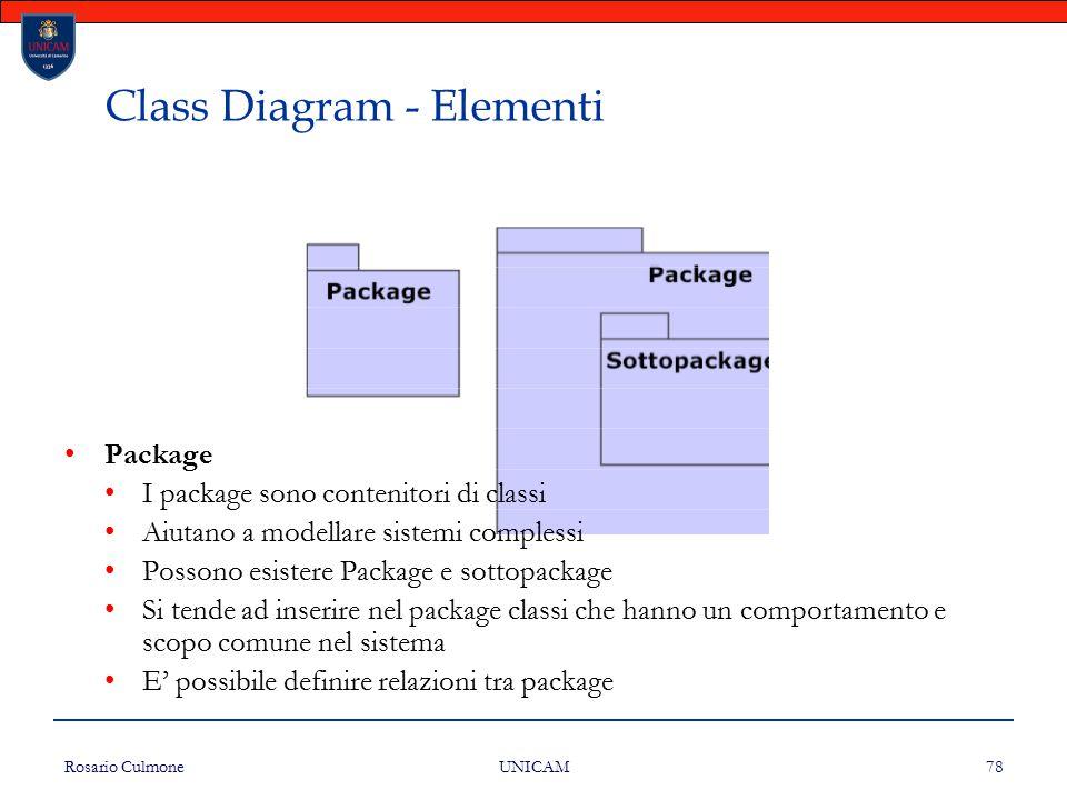 Rosario Culmone UNICAM 78 Class Diagram - Elementi Package I package sono contenitori di classi Aiutano a modellare sistemi complessi Possono esistere