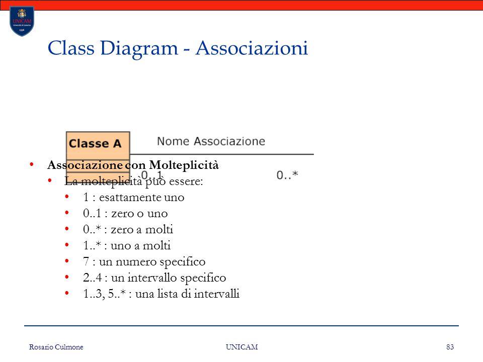 Rosario Culmone UNICAM 83 Class Diagram - Associazioni Associazione con Molteplicità La molteplicità può essere: 1 : esattamente uno 0..1 : zero o uno