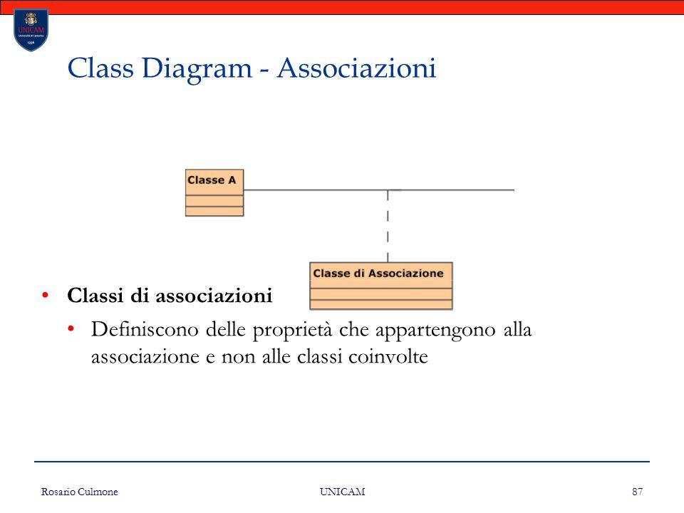 Rosario Culmone UNICAM 87 Class Diagram - Associazioni Classi di associazioni Definiscono delle proprietà che appartengono alla associazione e non all