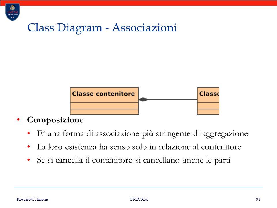 Rosario Culmone UNICAM 91 Class Diagram - Associazioni Composizione E' una forma di associazione più stringente di aggregazione La loro esistenza ha s