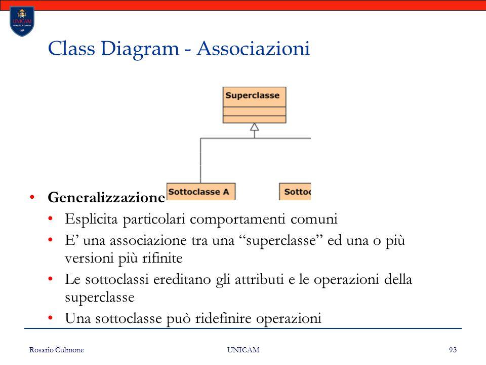 """Rosario Culmone UNICAM 93 Class Diagram - Associazioni Generalizzazione Esplicita particolari comportamenti comuni E' una associazione tra una """"superc"""