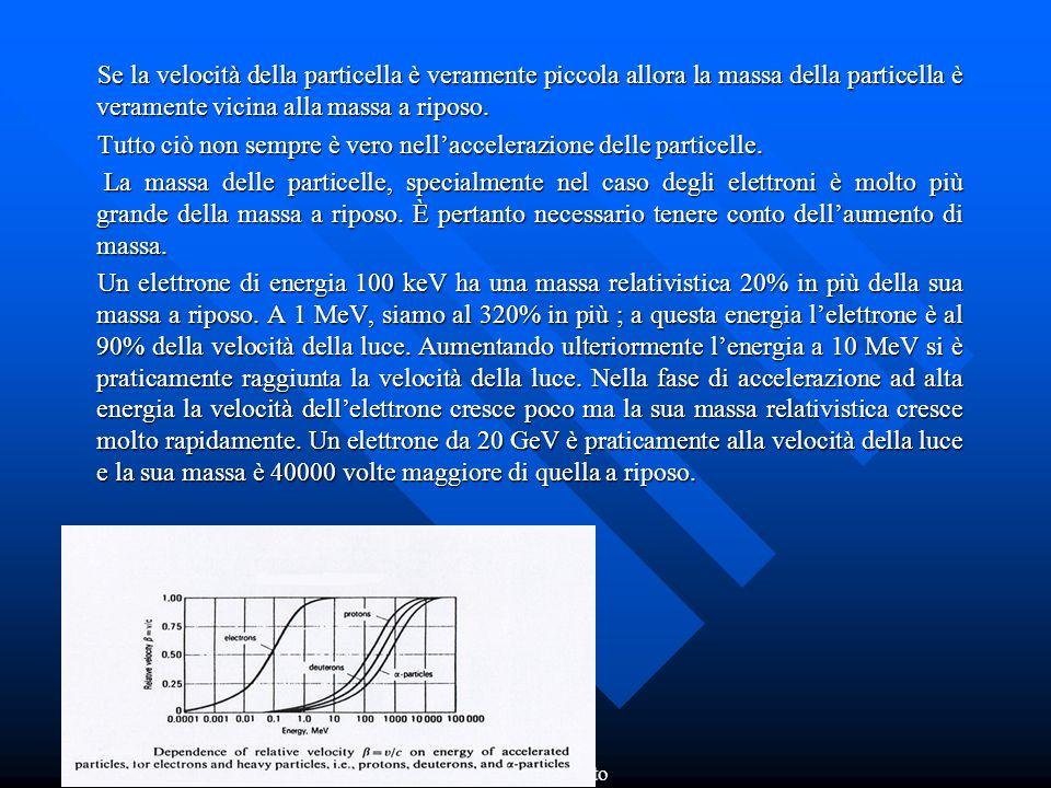 FERDOS Dr. Adolfo Esposito Se la velocità della particella è veramente piccola allora la massa della particella è veramente vicina alla massa a riposo