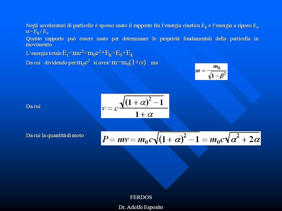 FERDOS Dr. Adolfo Esposito Negli acceleratori di particelle è spesso usato il rapporto fra l'energia cinetica E k e l'energia a riposo E o  = E k / E