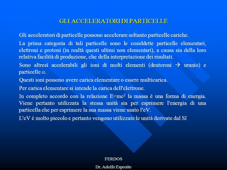 FERDOS Dr. Adolfo Esposito GLI ACCELERATORI DI PARTICELLE Gli acceleratori di particelle possono accelerare soltanto particelle cariche. La prima cate