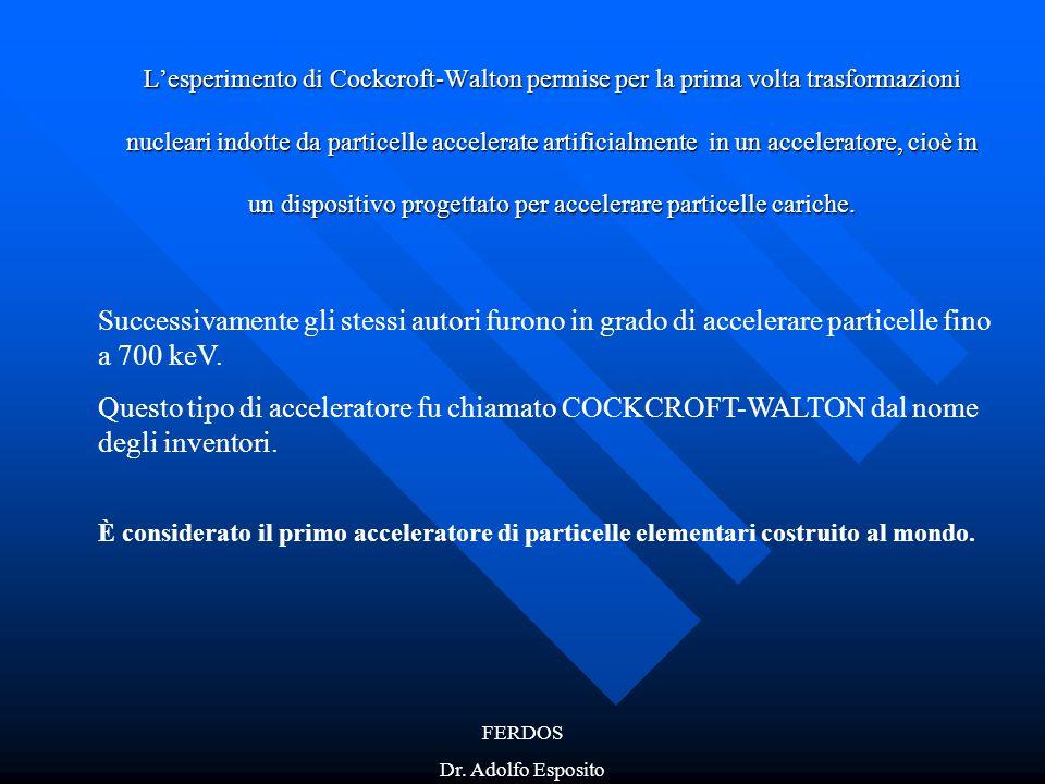 FERDOS Dr. Adolfo Esposito L'esperimento di Cockcroft-Walton permise per la prima volta trasformazioni nucleari indotte da particelle accelerate artif