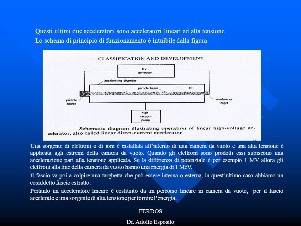 FERDOS Dr. Adolfo Esposito Questi ultimi due acceleratori sono acceleratori lineari ad alta tensione Lo schema di principio di funzionamento è intuibi