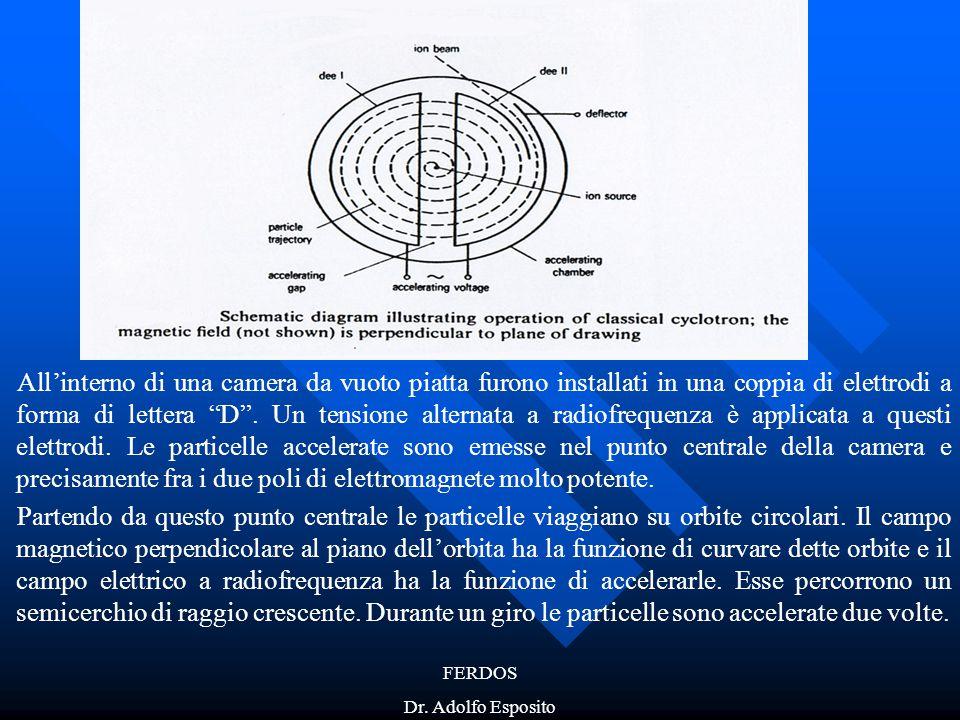 """FERDOS Dr. Adolfo Esposito All'interno di una camera da vuoto piatta furono installati in una coppia di elettrodi a forma di lettera """"D"""". Un tensione"""