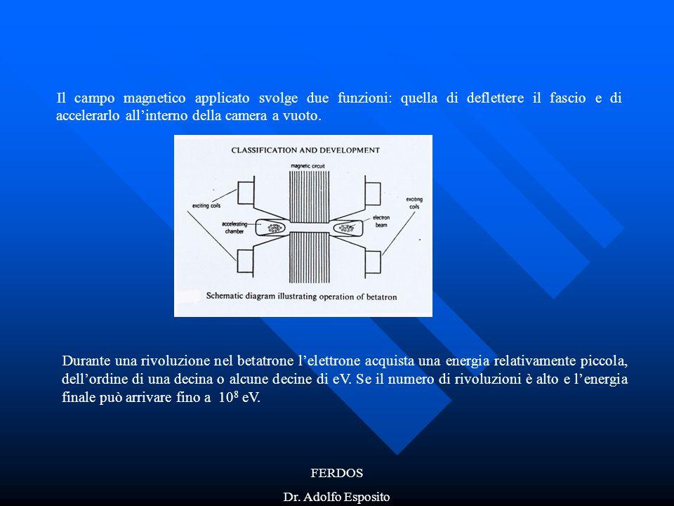 FERDOS Dr. Adolfo Esposito Il campo magnetico applicato svolge due funzioni: quella di deflettere il fascio e di accelerarlo all'interno della camera