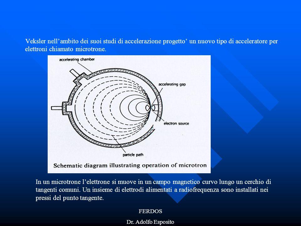 FERDOS Dr. Adolfo Esposito Veksler nell'ambito dei suoi studi di accelerazione progetto' un nuovo tipo di acceleratore per elettroni chiamato microtro