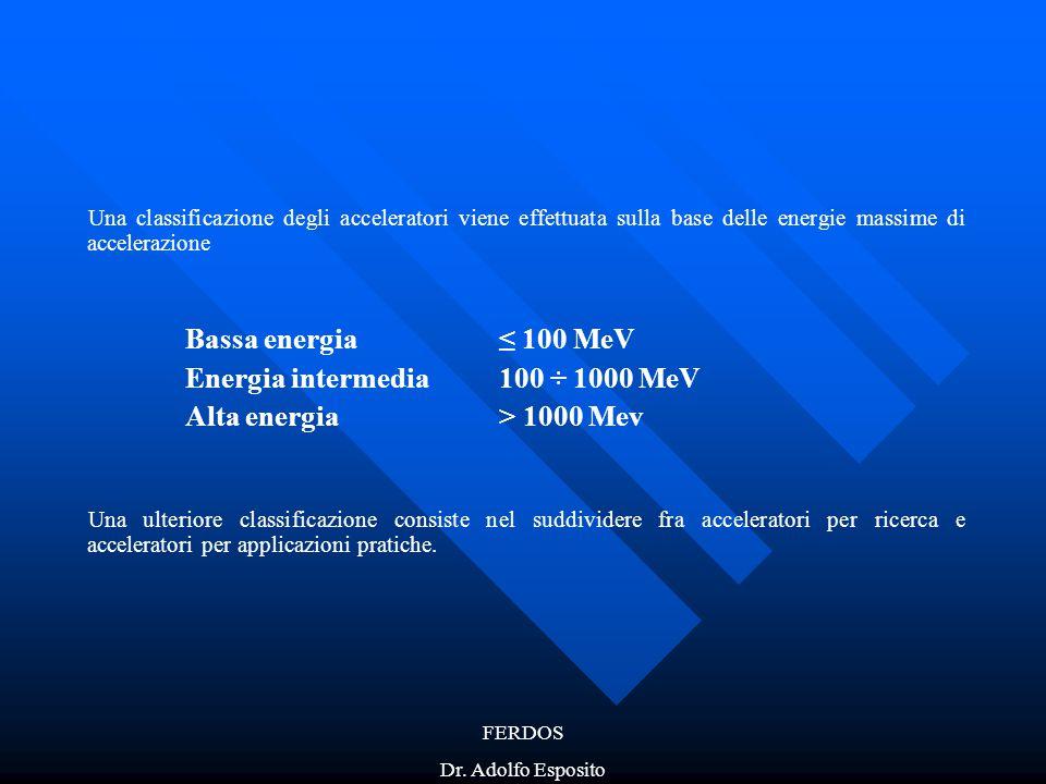 FERDOS Dr. Adolfo Esposito Una classificazione degli acceleratori viene effettuata sulla base delle energie massime di accelerazione Bassa energia≤ 10