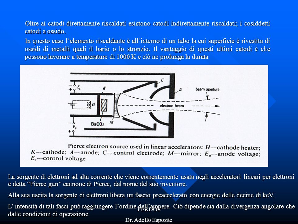 FERDOS Dr. Adolfo Esposito Oltre ai catodi direttamente riscaldati esistono catodi indirettamente riscaldati; i cosiddetti catodi a ossido. In questo