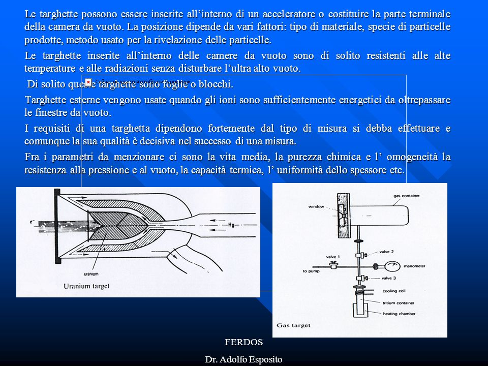 FERDOS Dr. Adolfo Esposito Le targhette possono essere inserite all'interno di un acceleratore o costituire la parte terminale della camera da vuoto.