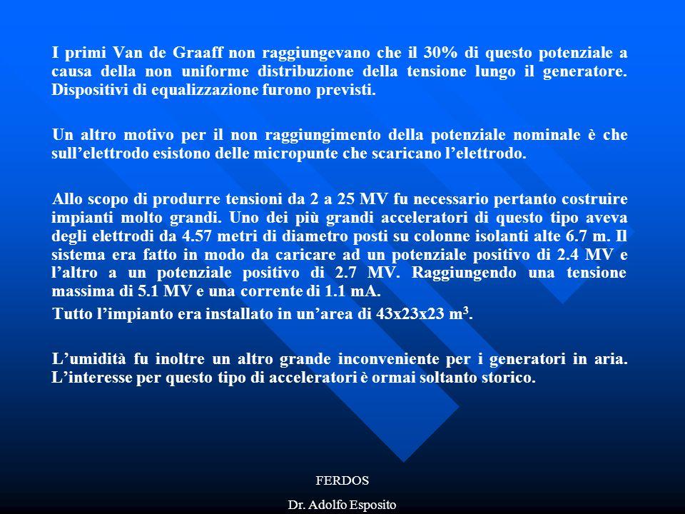 FERDOS Dr. Adolfo Esposito I primi Van de Graaff non raggiungevano che il 30% di questo potenziale a causa della non uniforme distribuzione della tens