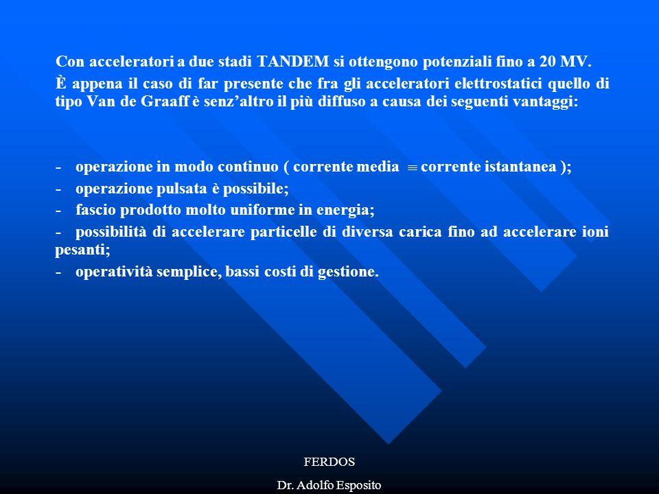 FERDOS Dr. Adolfo Esposito Con acceleratori a due stadi TANDEM si ottengono potenziali fino a 20 MV. È appena il caso di far presente che fra gli acce