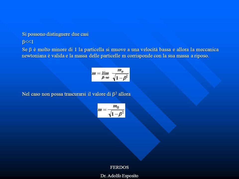 FERDOS Dr. Adolfo Esposito Si possono distinguere due casi  <<1 Se  è molto minore di 1 la particella si muove a una velocità bassa e allora la mecc