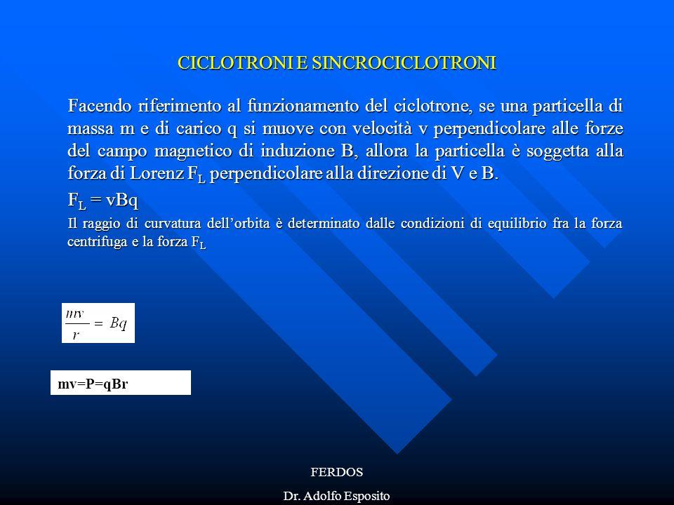 FERDOS Dr. Adolfo Esposito CICLOTRONI E SINCROCICLOTRONI Facendo riferimento al funzionamento del ciclotrone, se una particella di massa m e di carico