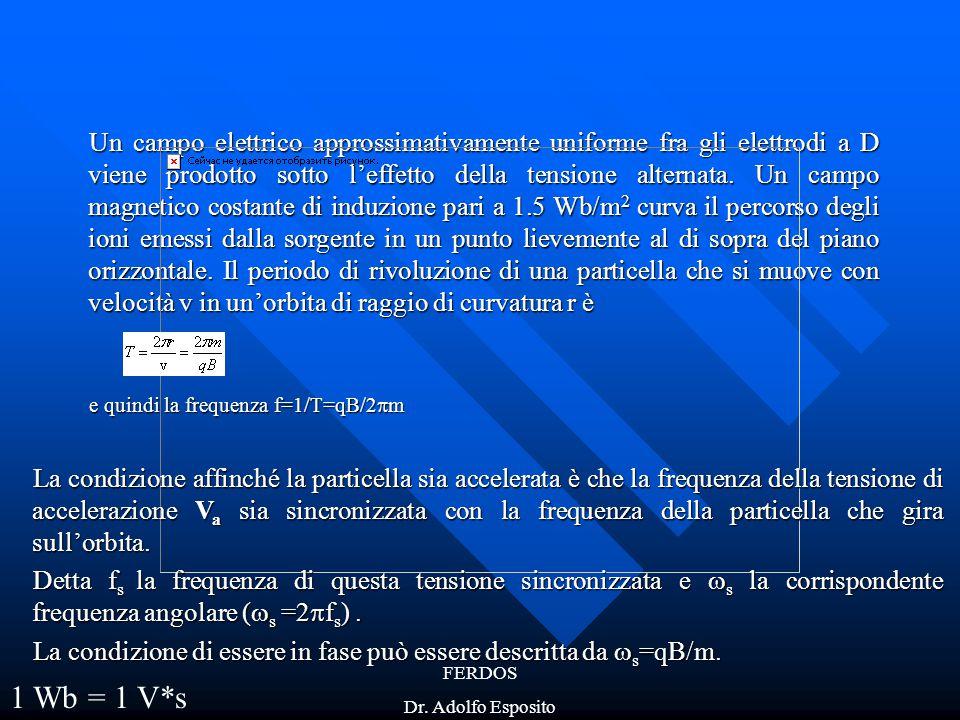 FERDOS Dr. Adolfo Esposito Un campo elettrico approssimativamente uniforme fra gli elettrodi a D viene prodotto sotto l'effetto della tensione alterna