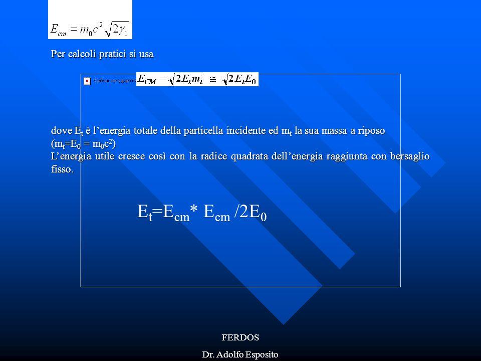 FERDOS Dr. Adolfo Esposito Per calcoli pratici si usa dove E t è l'energia totale della particella incidente ed m t la sua massa a riposo (m t =E 0 =