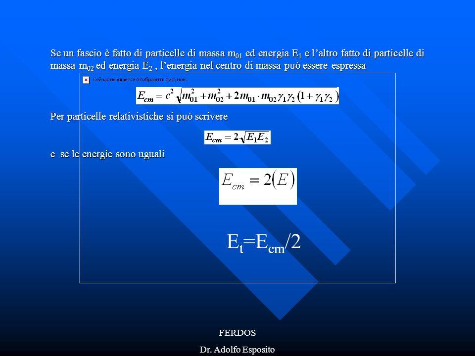 FERDOS Dr. Adolfo Esposito Se un fascio è fatto di particelle di massa m 01 ed energia E 1 e l'altro fatto di particelle di massa m 02 ed energia E 2,