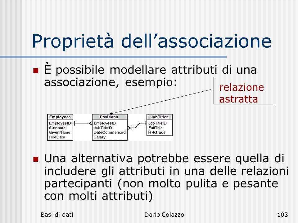 Basi di datiDario Colazzo103 Proprietà dell'associazione È possibile modellare attributi di una associazione, esempio: Una alternativa potrebbe essere