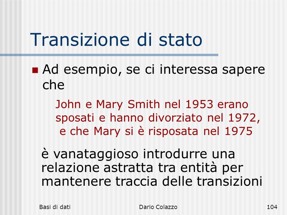 Basi di datiDario Colazzo104 Transizione di stato Ad esempio, se ci interessa sapere che John e Mary Smith nel 1953 erano sposati e hanno divorziato n