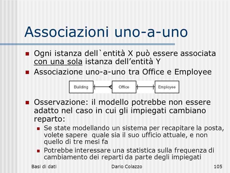 Basi di datiDario Colazzo105 Associazioni uno-a-uno Ogni istanza dell`entità X può essere associata con una sola istanza dell'entità Y Associazione un