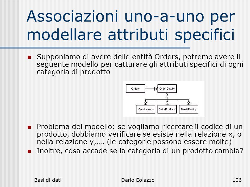 Basi di datiDario Colazzo106 Associazioni uno-a-uno per modellare attributi specifici Supponiamo di avere delle entità Orders, potremo avere il seguen