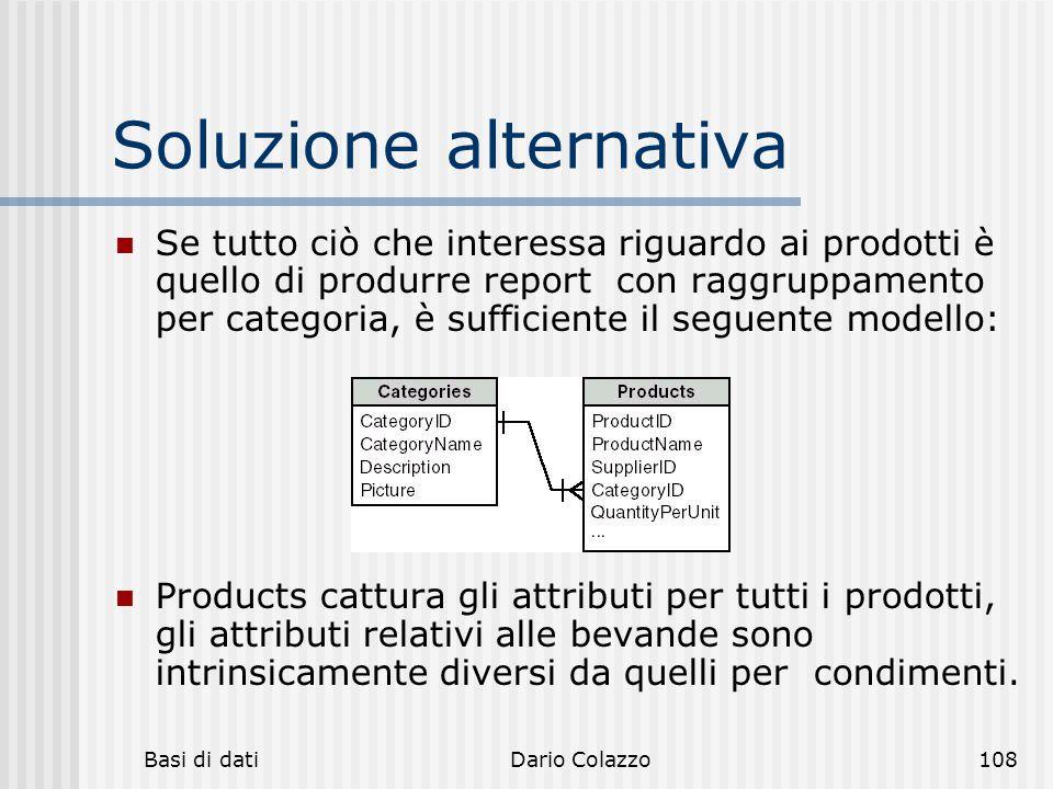 Basi di datiDario Colazzo108 Soluzione alternativa Se tutto ciò che interessa riguardo ai prodotti è quello di produrre report con raggruppamento per