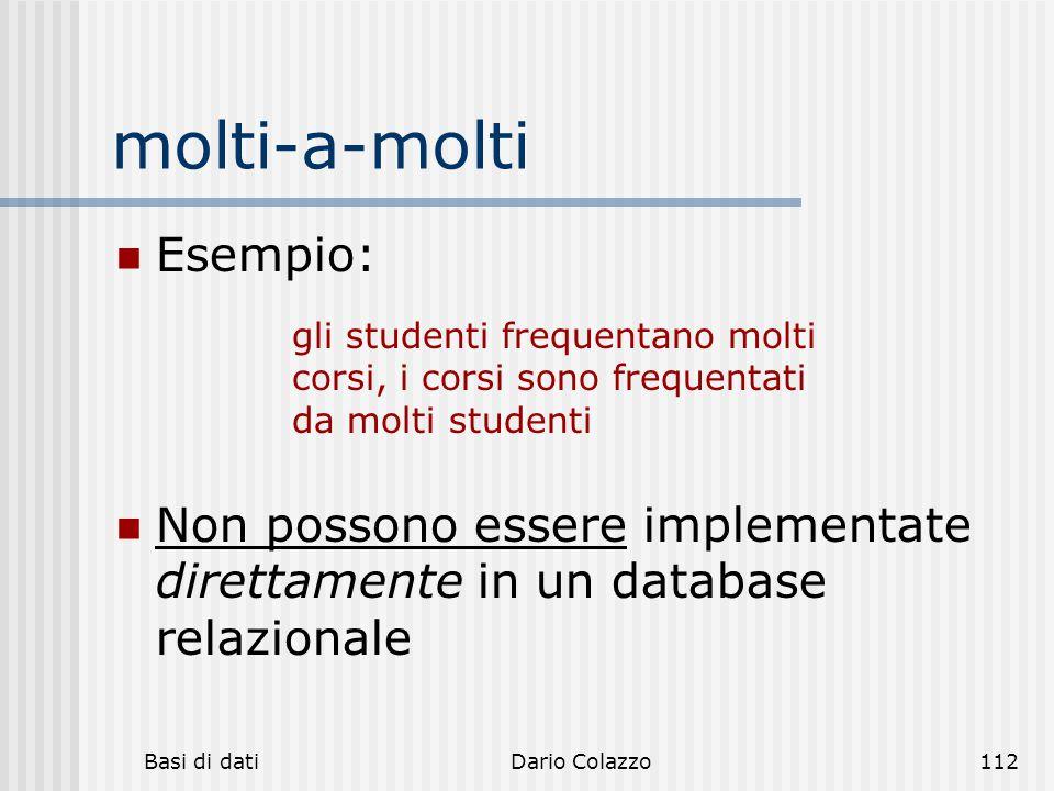 Basi di datiDario Colazzo112 molti-a-molti Esempio: Non possono essere implementate direttamente in un database relazionale gli studenti frequentano m