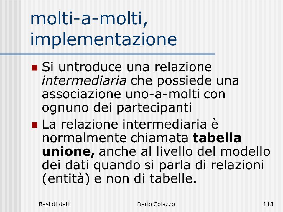 Basi di datiDario Colazzo113 molti-a-molti, implementazione Si untroduce una relazione intermediaria che possiede una associazione uno-a-molti con ogn