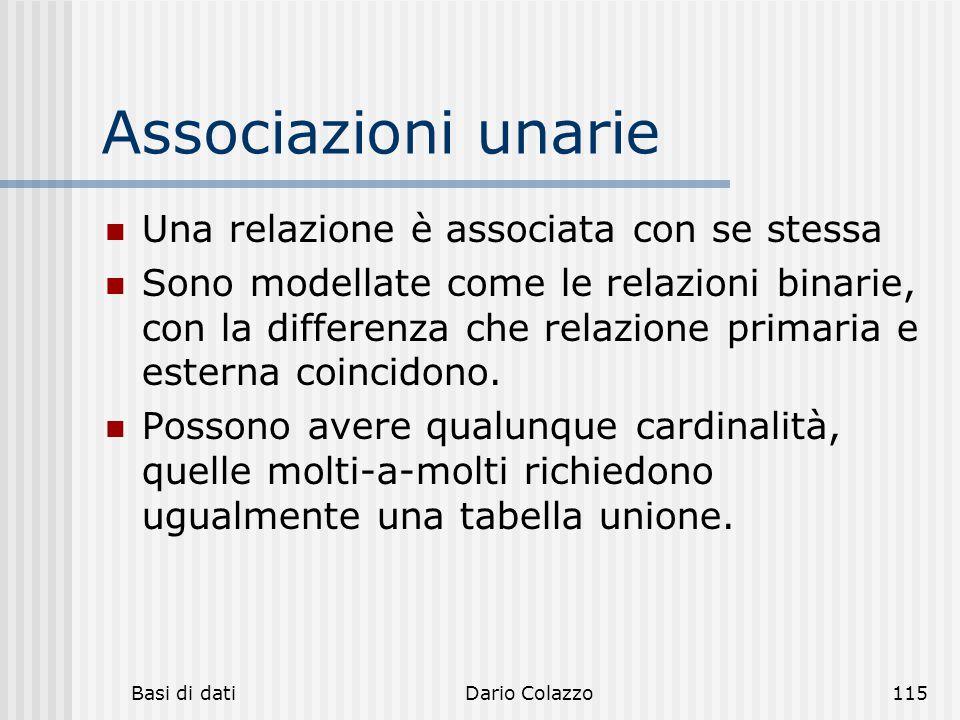 Basi di datiDario Colazzo115 Associazioni unarie Una relazione è associata con se stessa Sono modellate come le relazioni binarie, con la differenza c