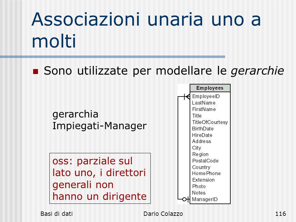 Basi di datiDario Colazzo116 Associazioni unaria uno a molti Sono utilizzate per modellare le gerarchie gerarchia Impiegati-Manager oss: parziale sul