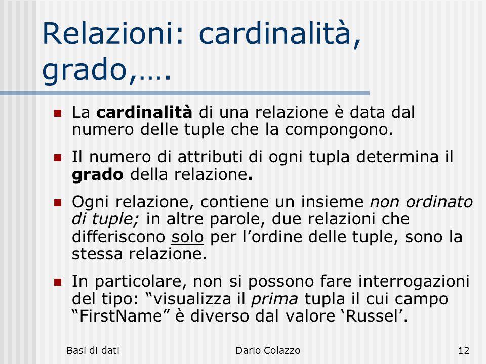 Basi di datiDario Colazzo12 Relazioni: cardinalità, grado,…. La cardinalità di una relazione è data dal numero delle tuple che la compongono. Il numer