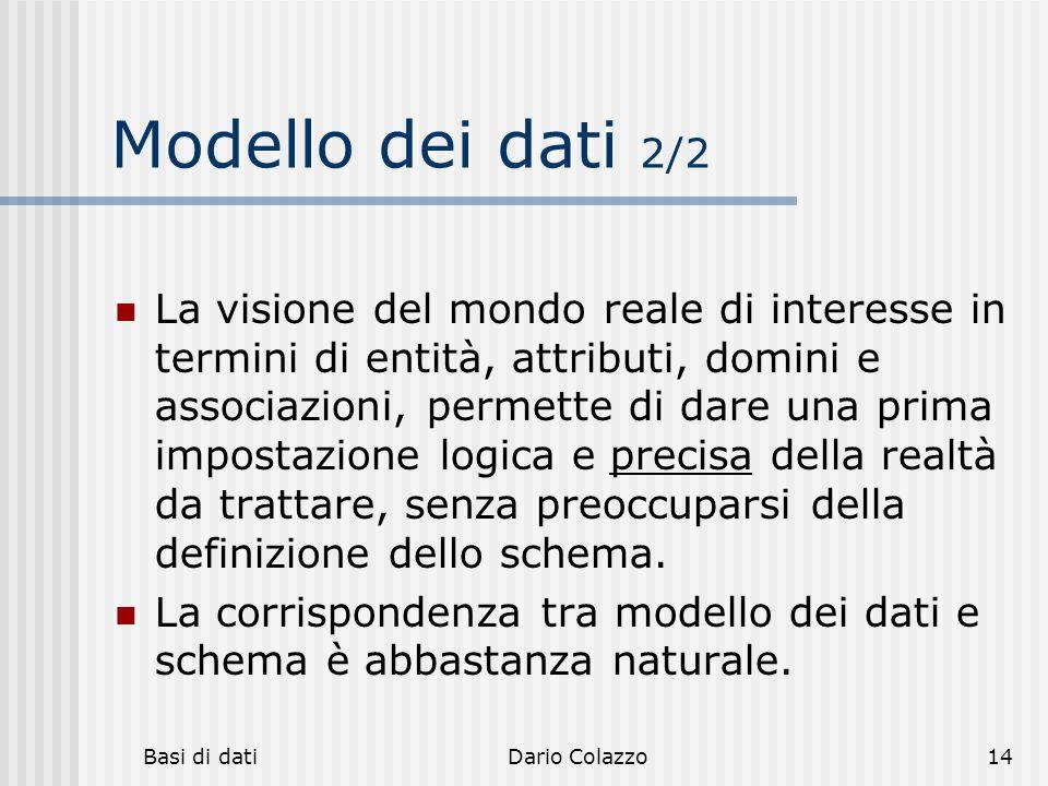 Basi di datiDario Colazzo14 Modello dei dati 2/2 La visione del mondo reale di interesse in termini di entità, attributi, domini e associazioni, perme
