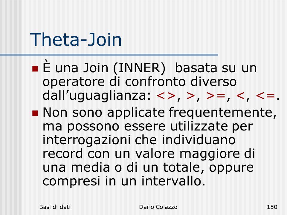 Basi di datiDario Colazzo150 Theta-Join È una Join (INNER) basata su un operatore di confronto diverso dall'uguaglianza: <>, >, >=, <, <=. Non sono ap