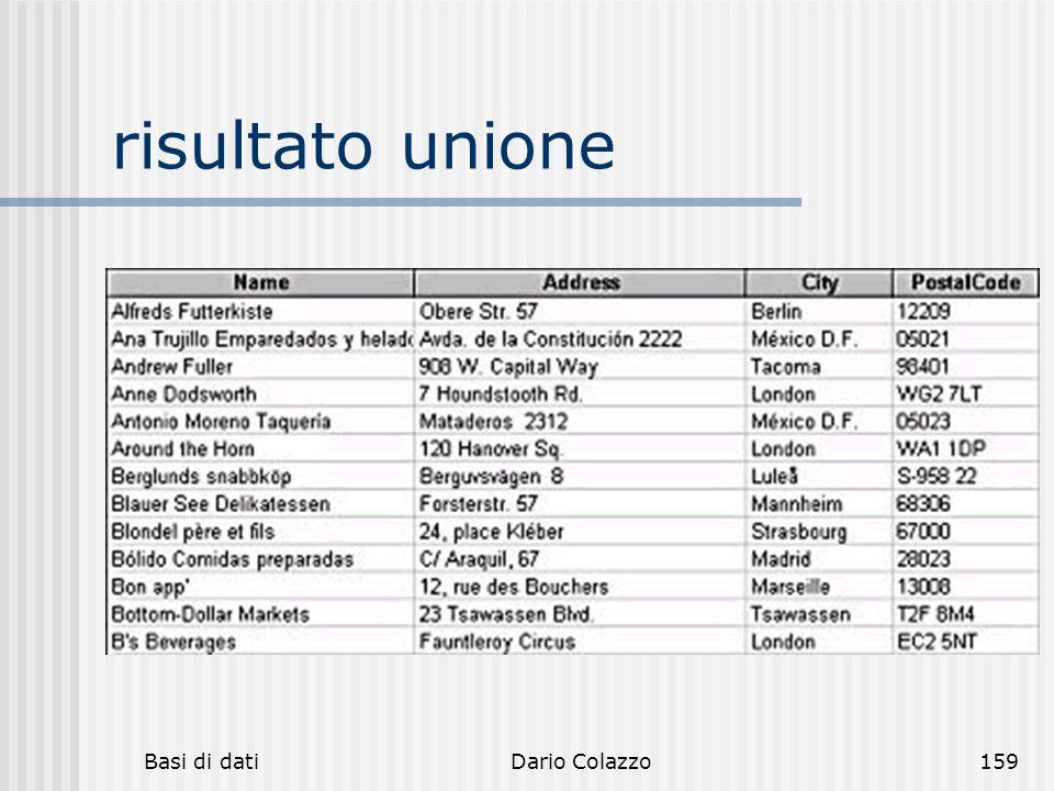 Basi di datiDario Colazzo159 risultato unione