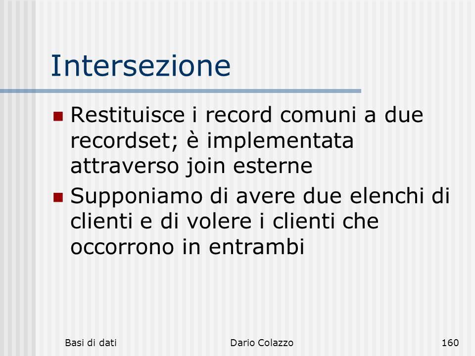 Basi di datiDario Colazzo160 Intersezione Restituisce i record comuni a due recordset; è implementata attraverso join esterne Supponiamo di avere due