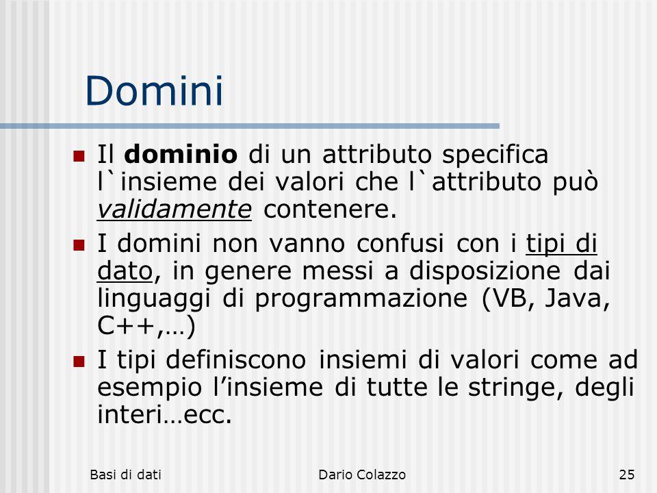 Basi di datiDario Colazzo25 Domini Il dominio di un attributo specifica l`insieme dei valori che l`attributo può validamente contenere. I domini non v