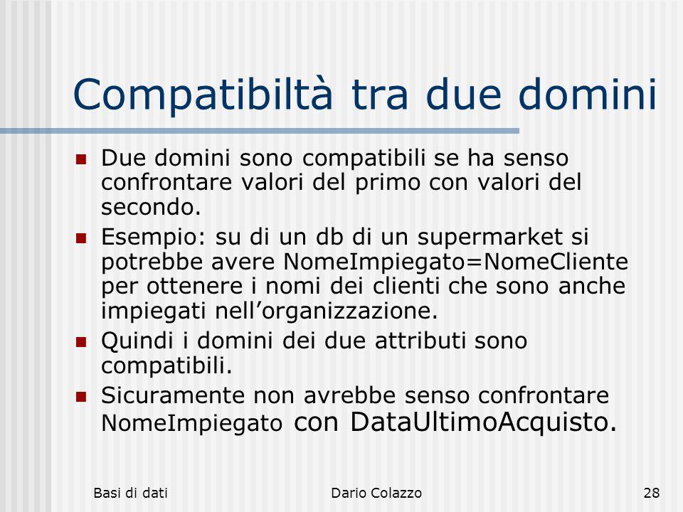Basi di datiDario Colazzo28 Compatibiltà tra due domini Due domini sono compatibili se ha senso confrontare valori del primo con valori del secondo. E