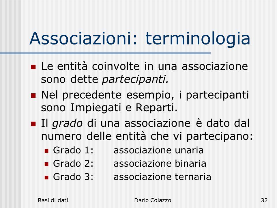 Basi di datiDario Colazzo32 Associazioni: terminologia Le entità coinvolte in una associazione sono dette partecipanti. Nel precedente esempio, i part